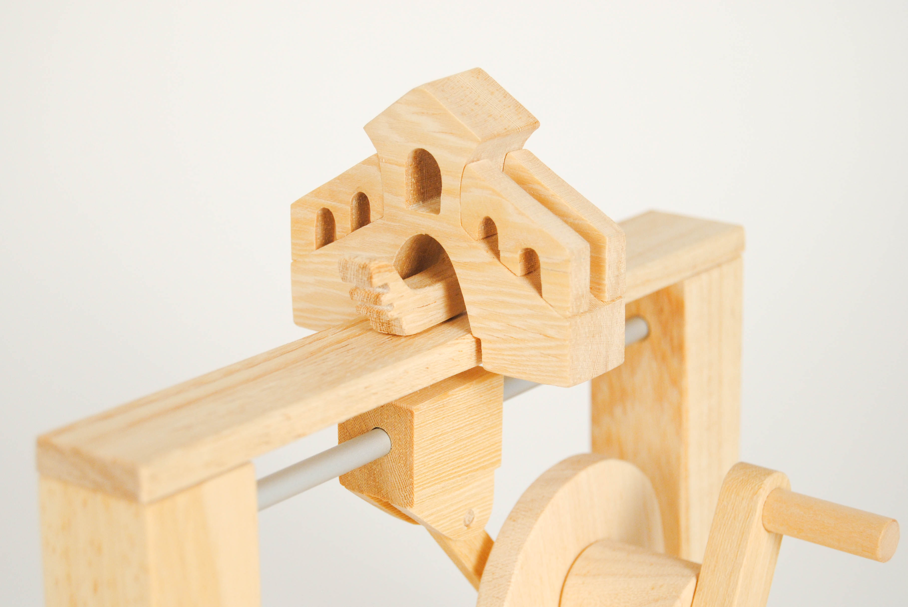 leonardo da vinci magnetic wooden toy with boat under the bridge in venice