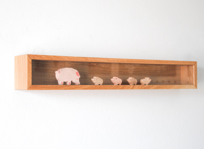 rack wooden wall showcase with glass for objects