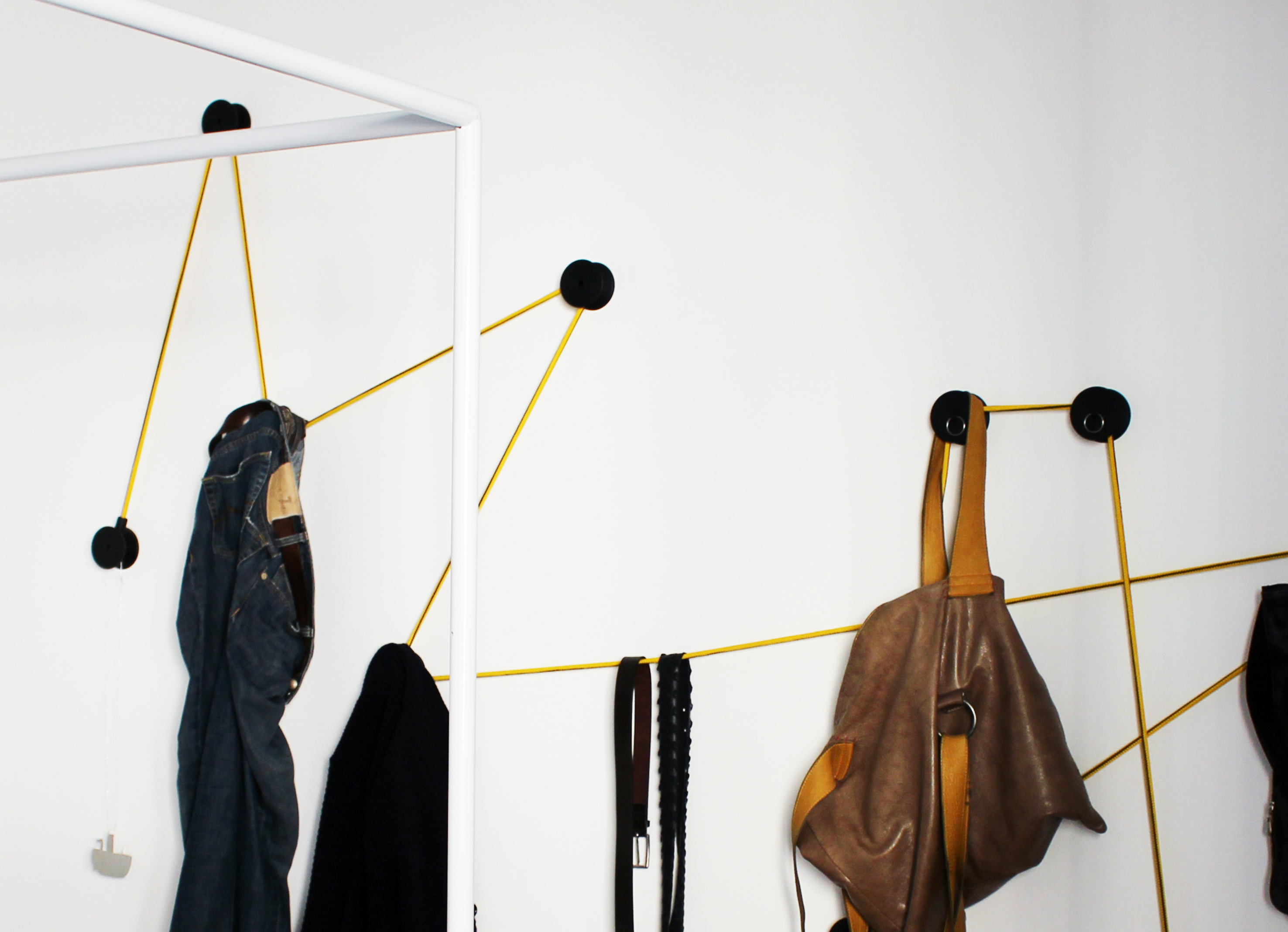 tit black coat hook in pvc and keychain with bag and jeans on the elastic rope