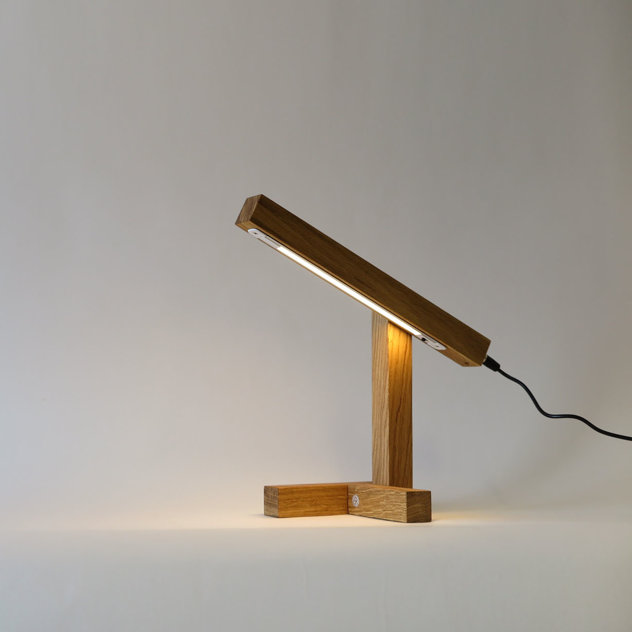 light on of tris lamp on the table