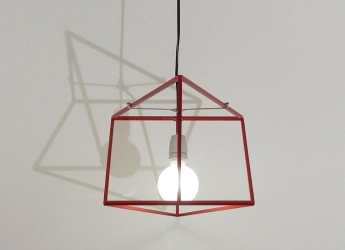 divina proportione geometric lamp red