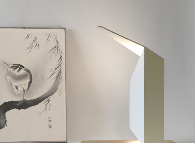haiku wood lamp on the table with painting