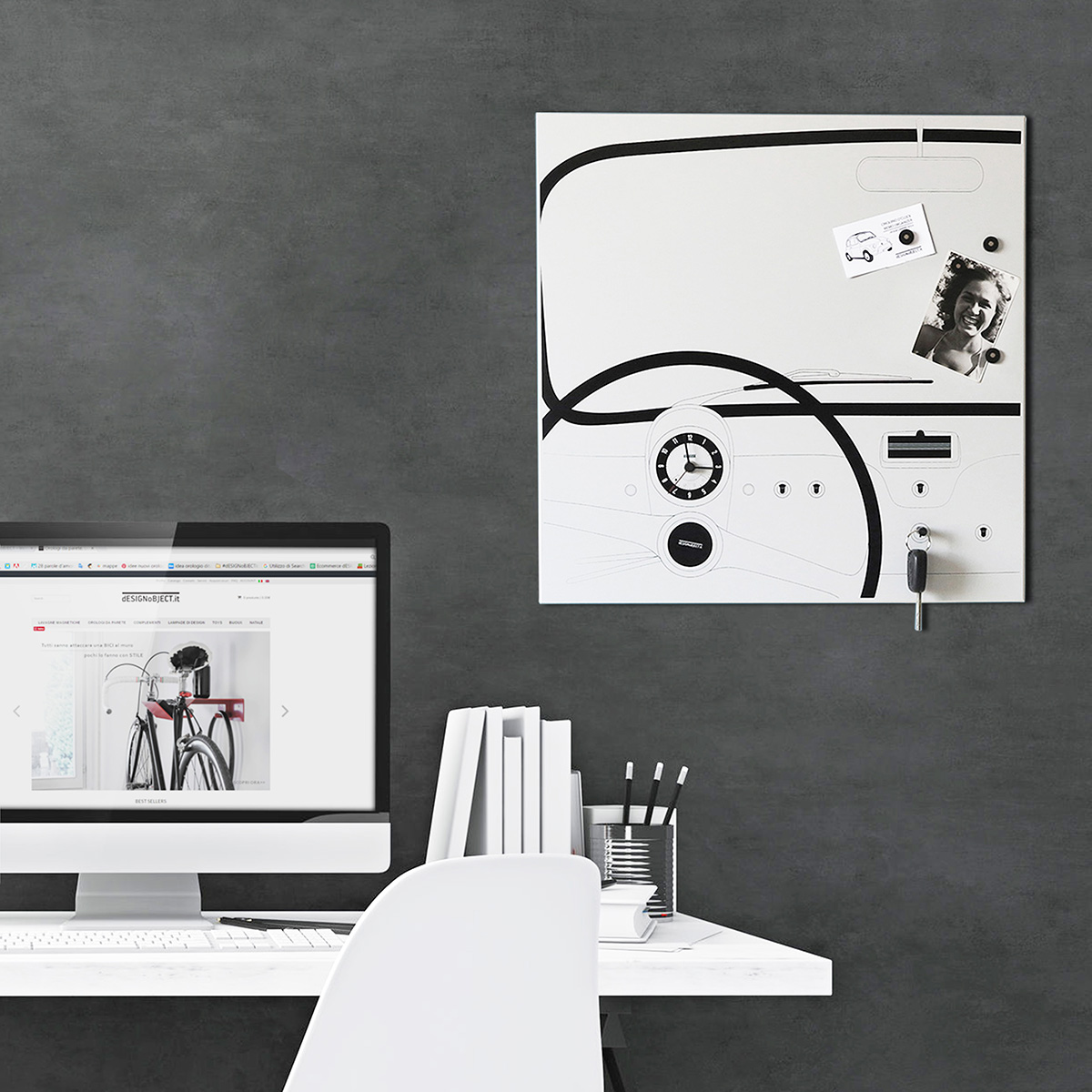 Cinquino orologio da parete di design lavagna magnetica - Orologio design parete ...