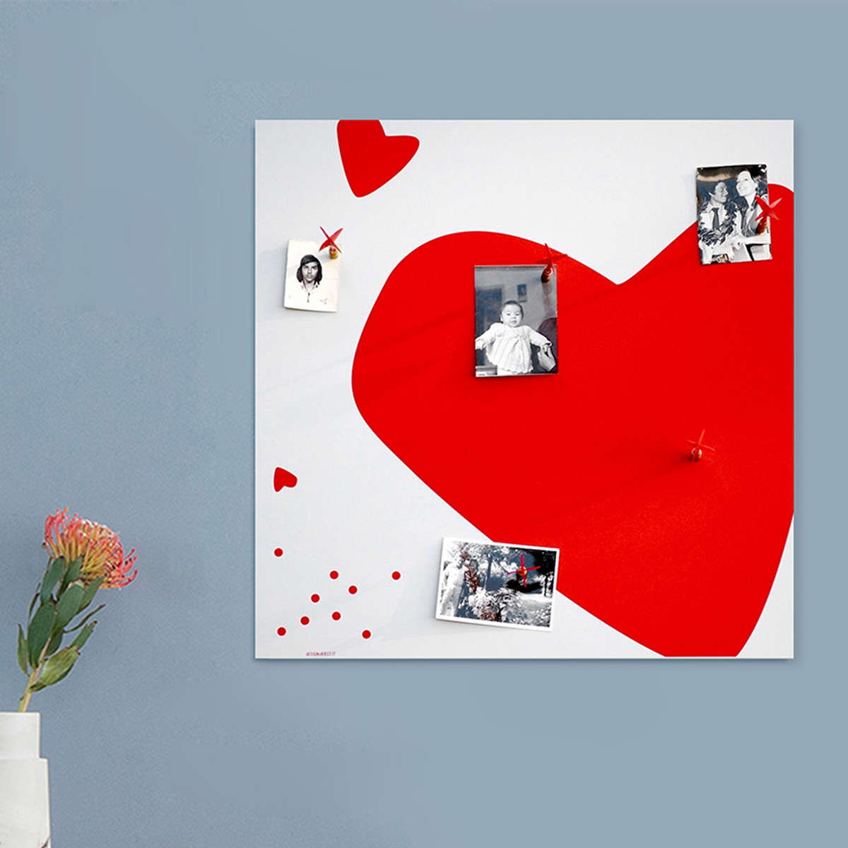 lavagna-magnetica-portafoto-magnetic-board-photo-holder-love-heart