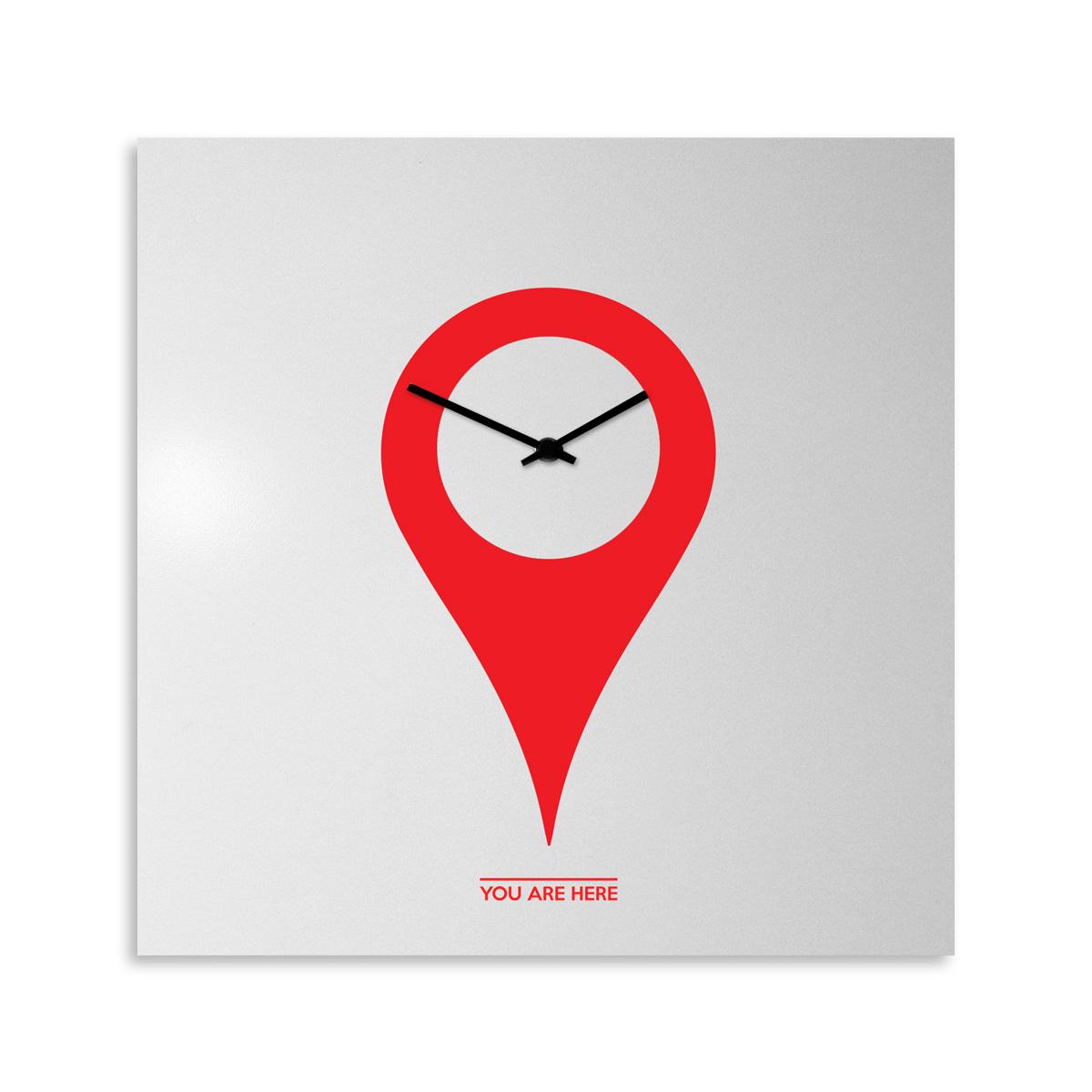 orologio-parete-design-wall-clock-you-are-here-white-red