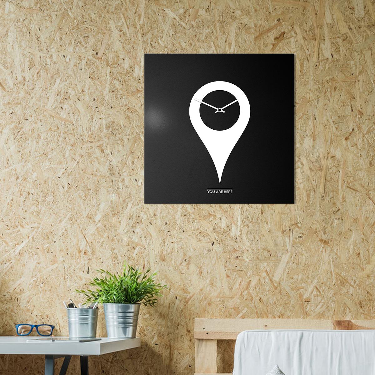 orologio-parete-minimal-design-wall-clock-youarehere-black-white-mood