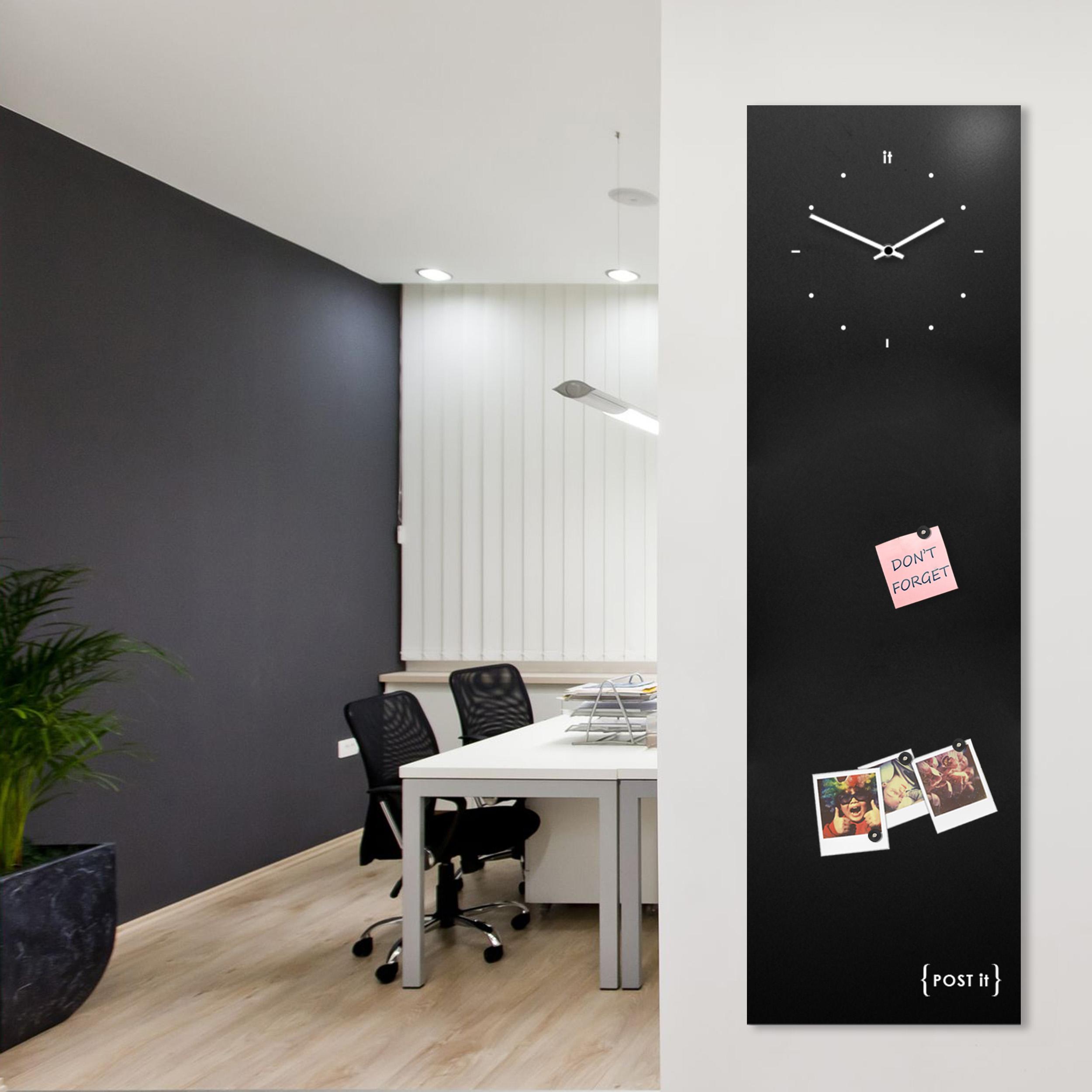 clock-design-magnetic-board-orologio-lavagna-magnetica-post it-black-mood