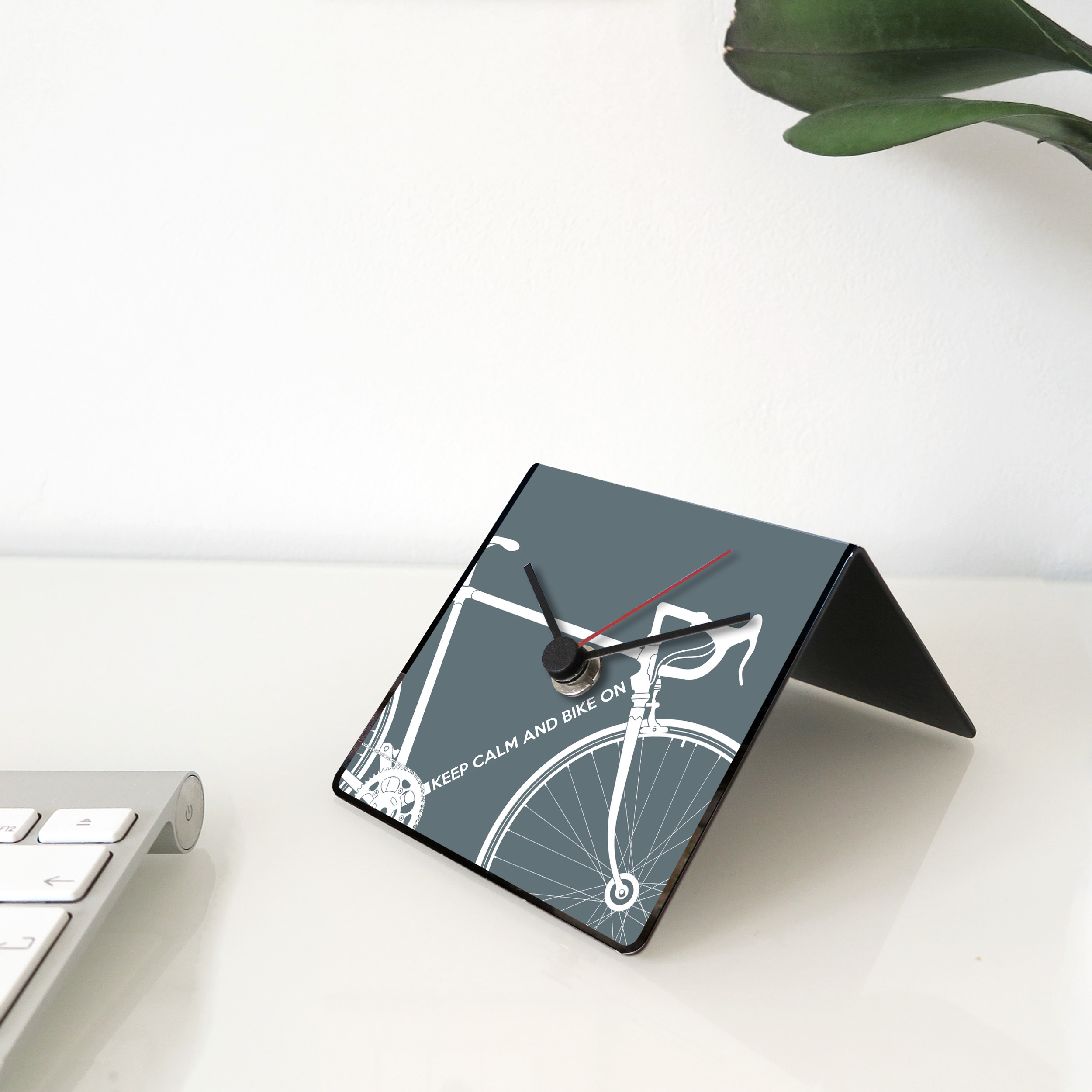 Bike clock grey desk
