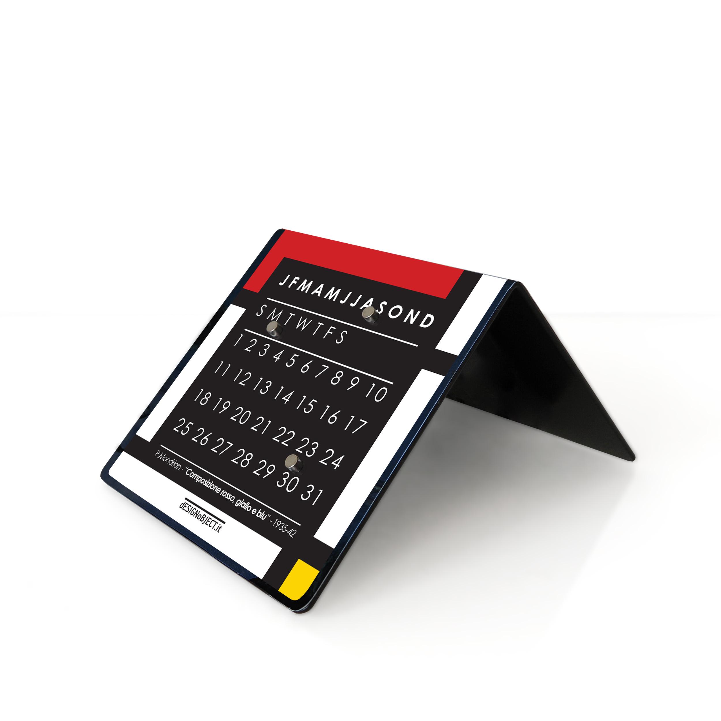 mondrian art clock calendar designobject