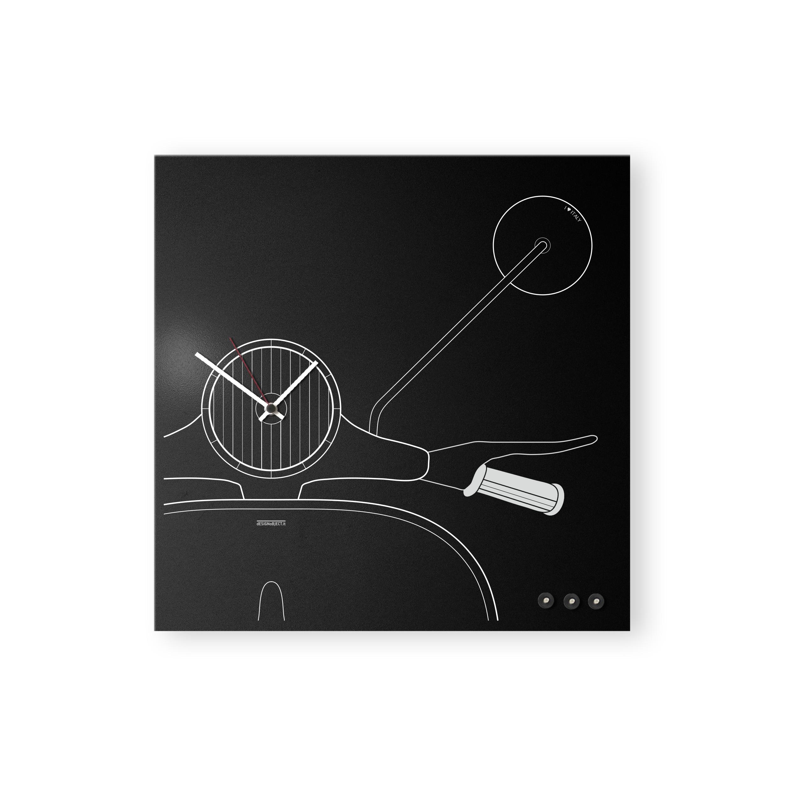 Vespa vintage clock black design