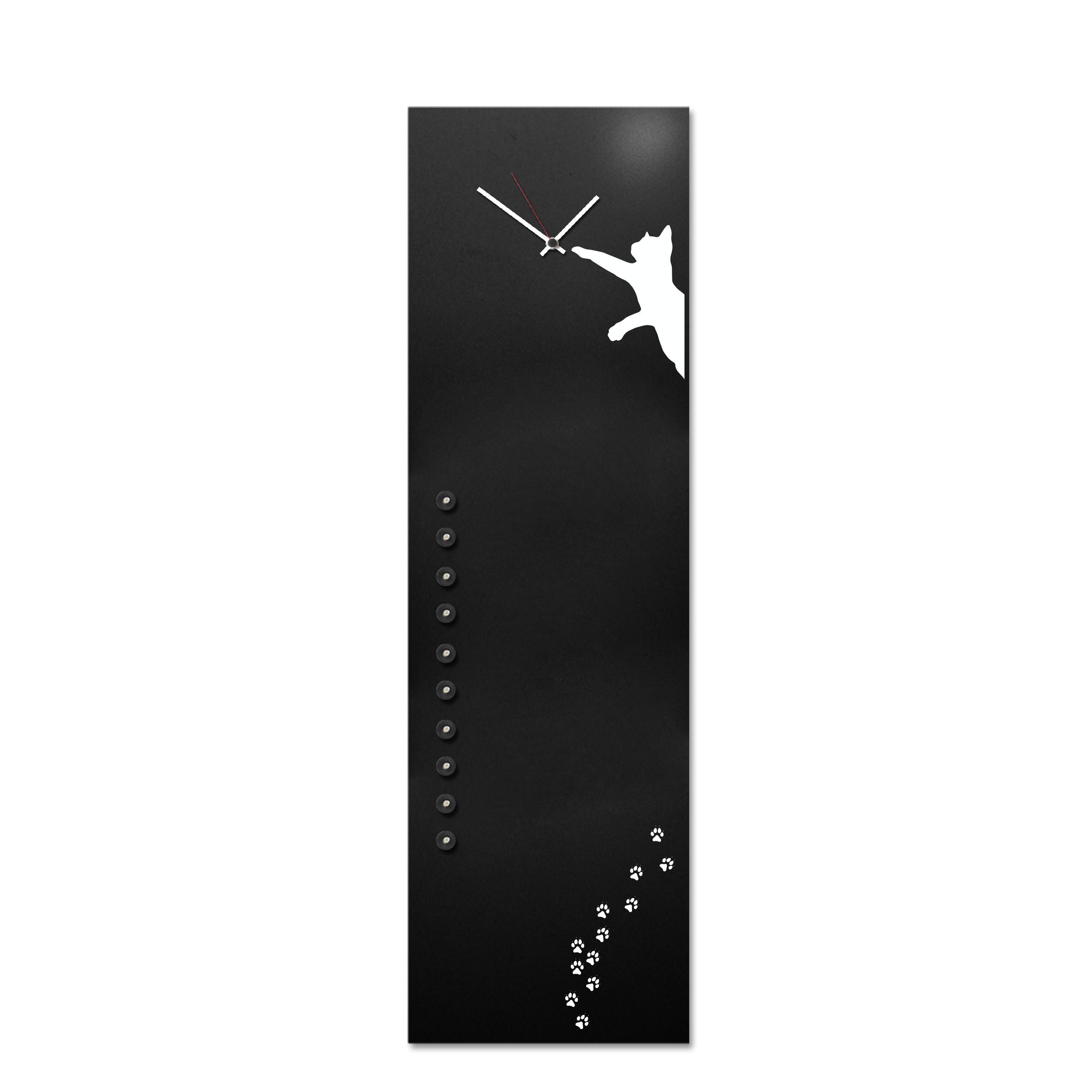 cat clock black magnetic board lavagna uffico design