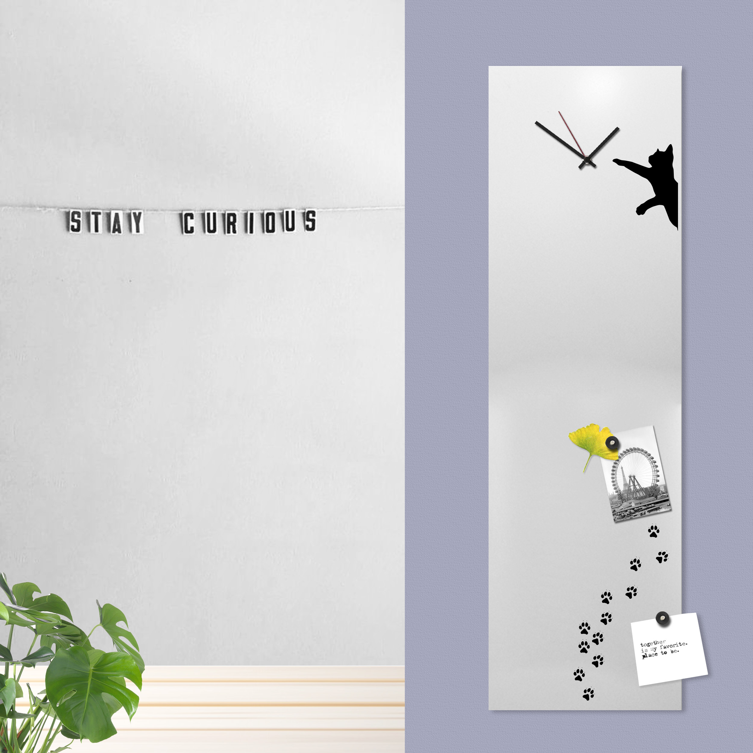 cat clock white design magnetic board office