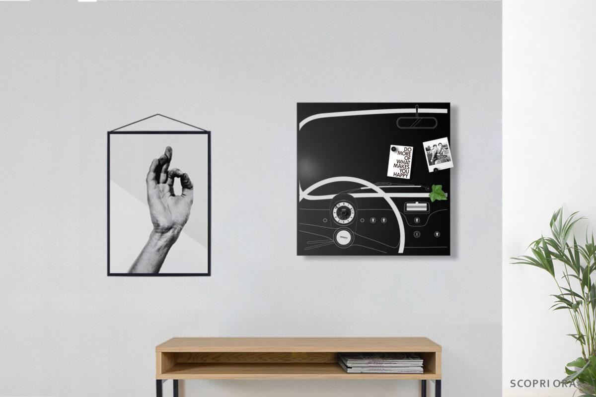 orologio design muro fiat cinquecento vintage black