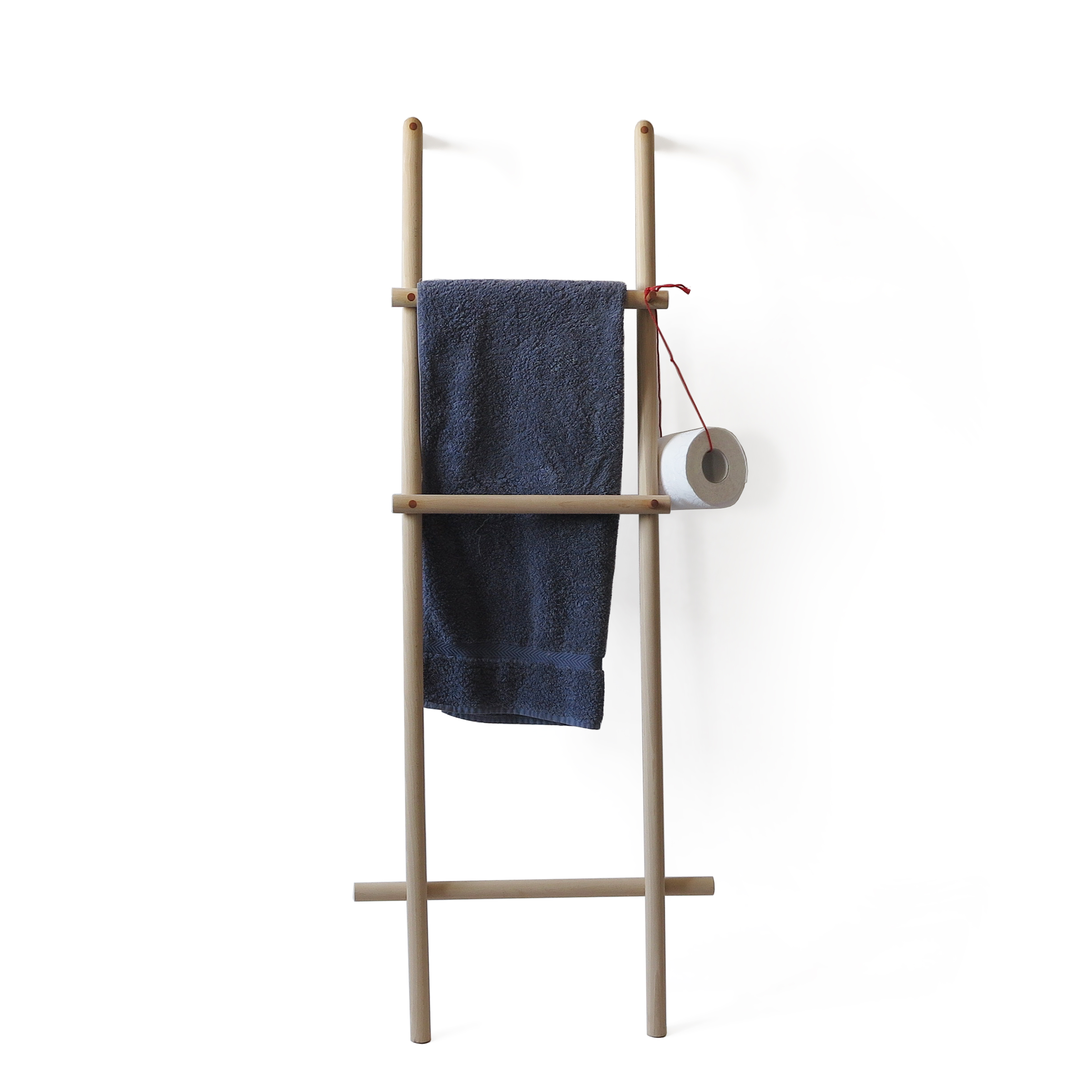 wooden ladder towel holder on the wall with blue towel