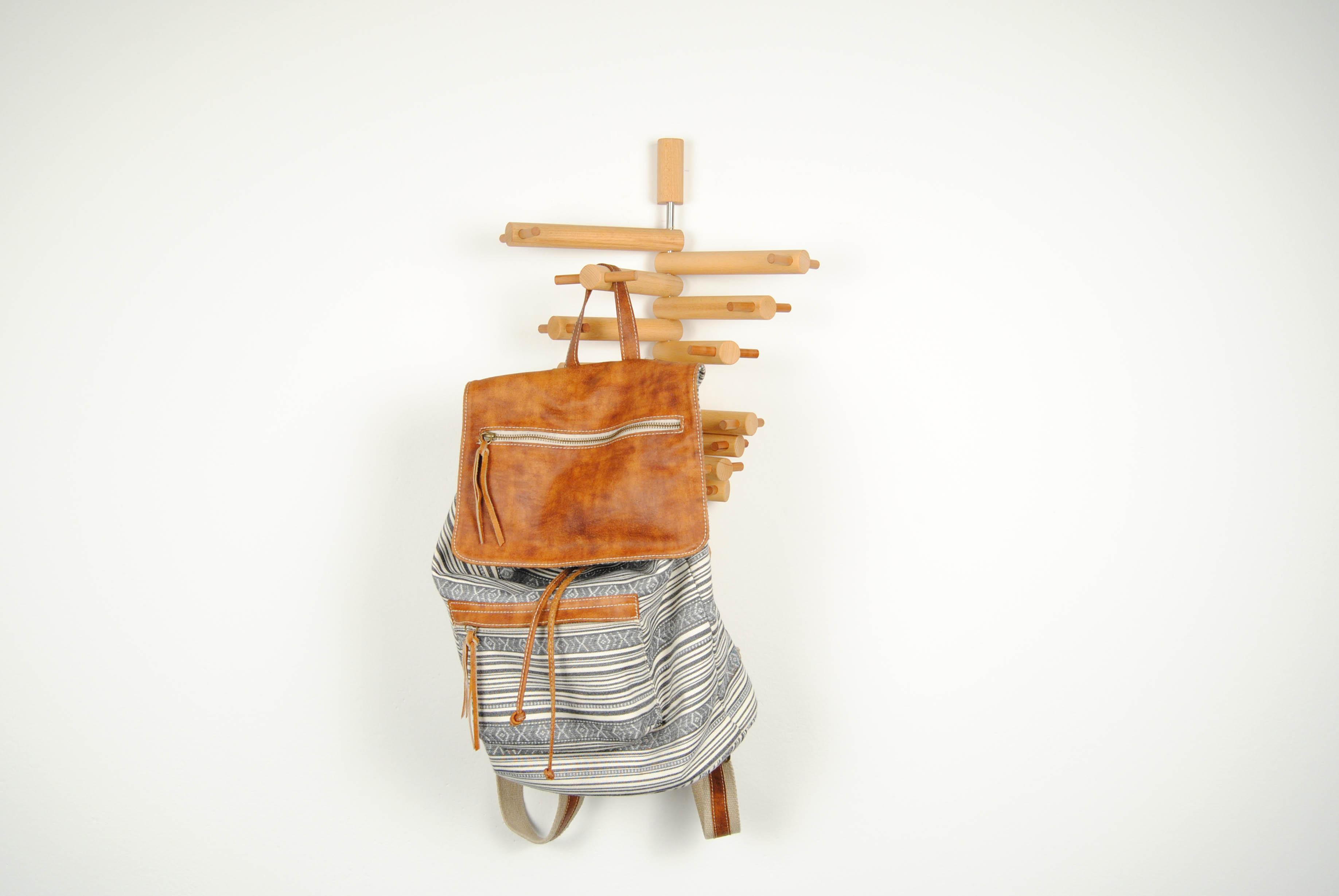 21 wooden coat hook with bag