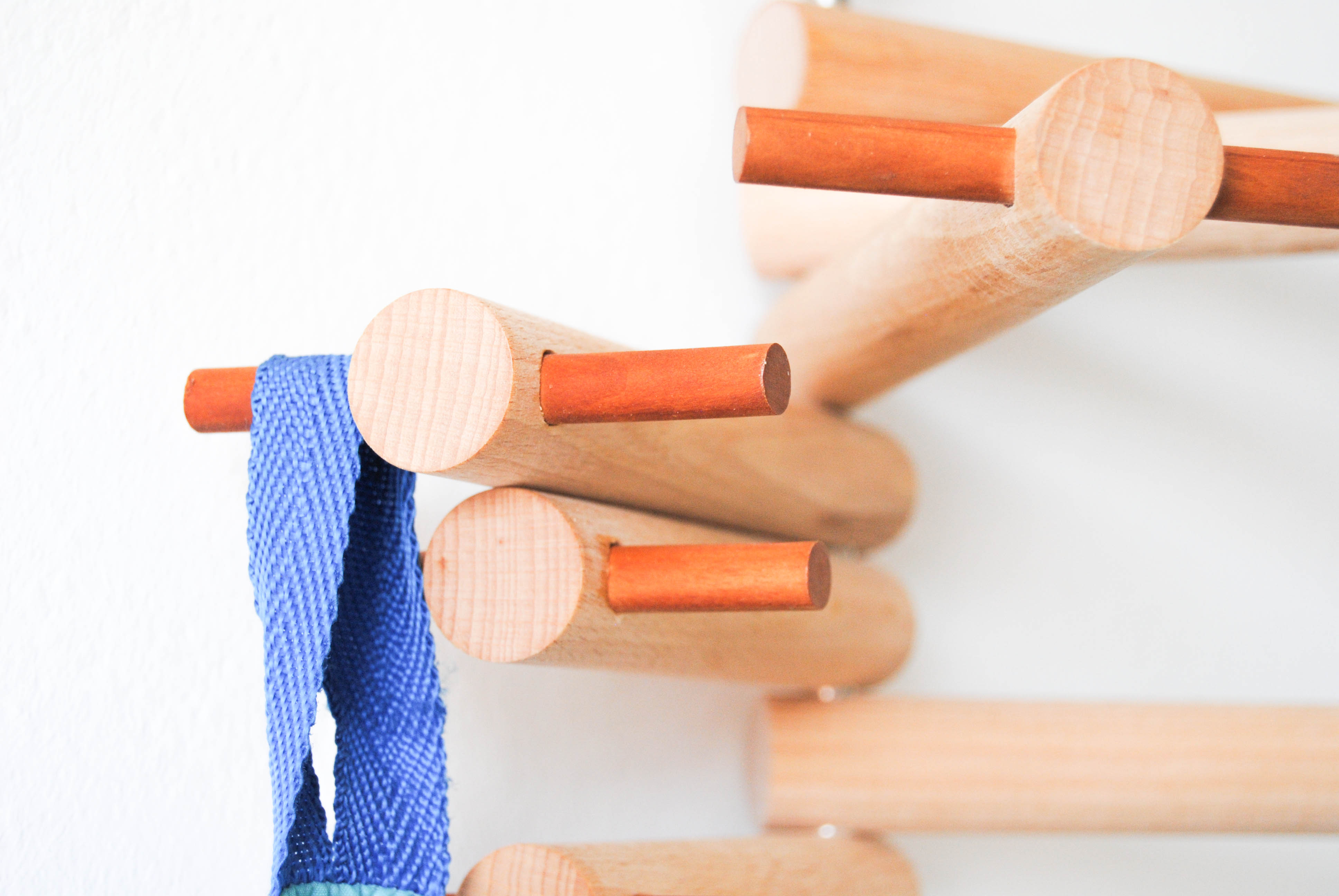 backpack on the wooden hanger