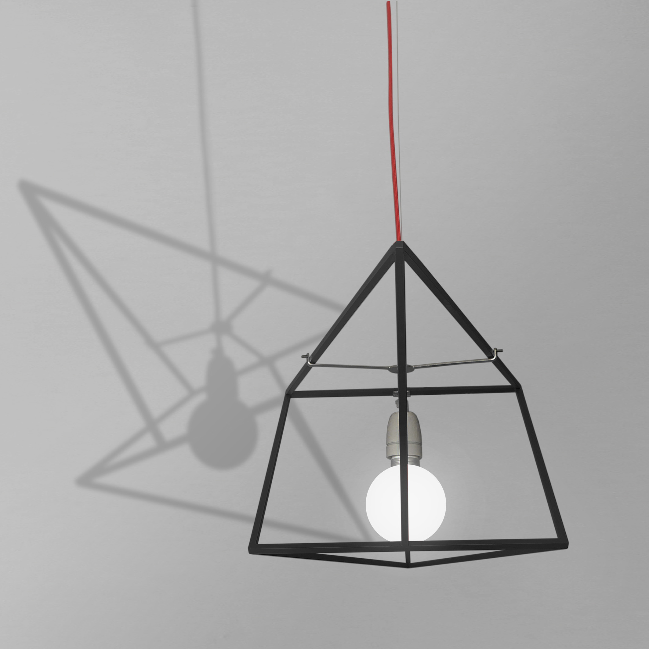 divina proportione black lamp with red wire