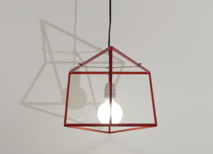 divina proportione geometric lamp red