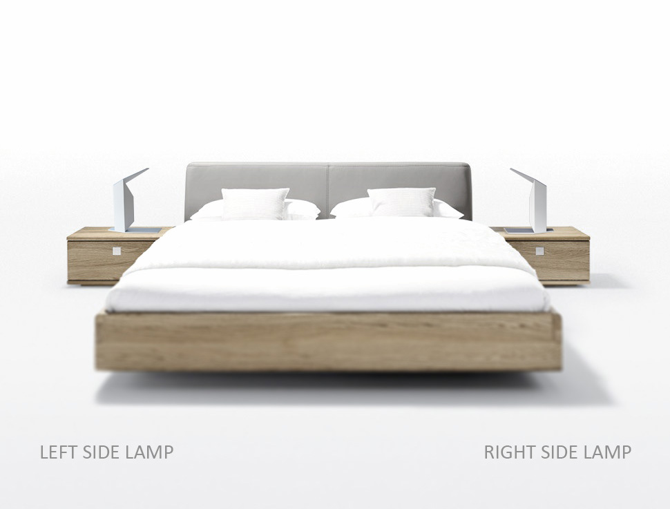 haiku wooden lamps left and right side of the bed