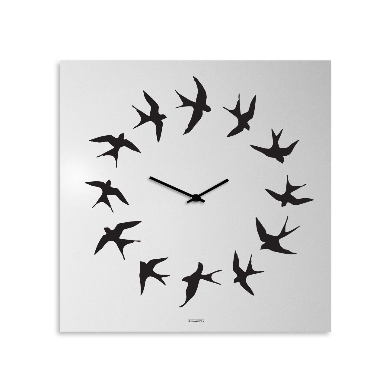 Birds: modern, big wall clock. Italian Design