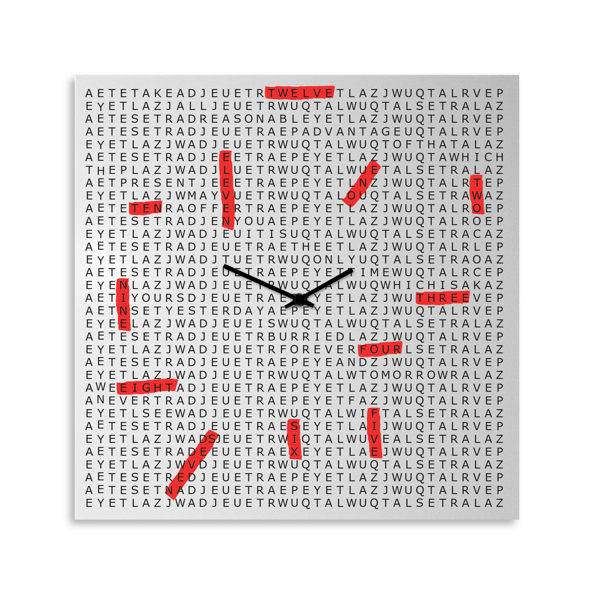 Crossword: modern, big wall clock. Italian Design