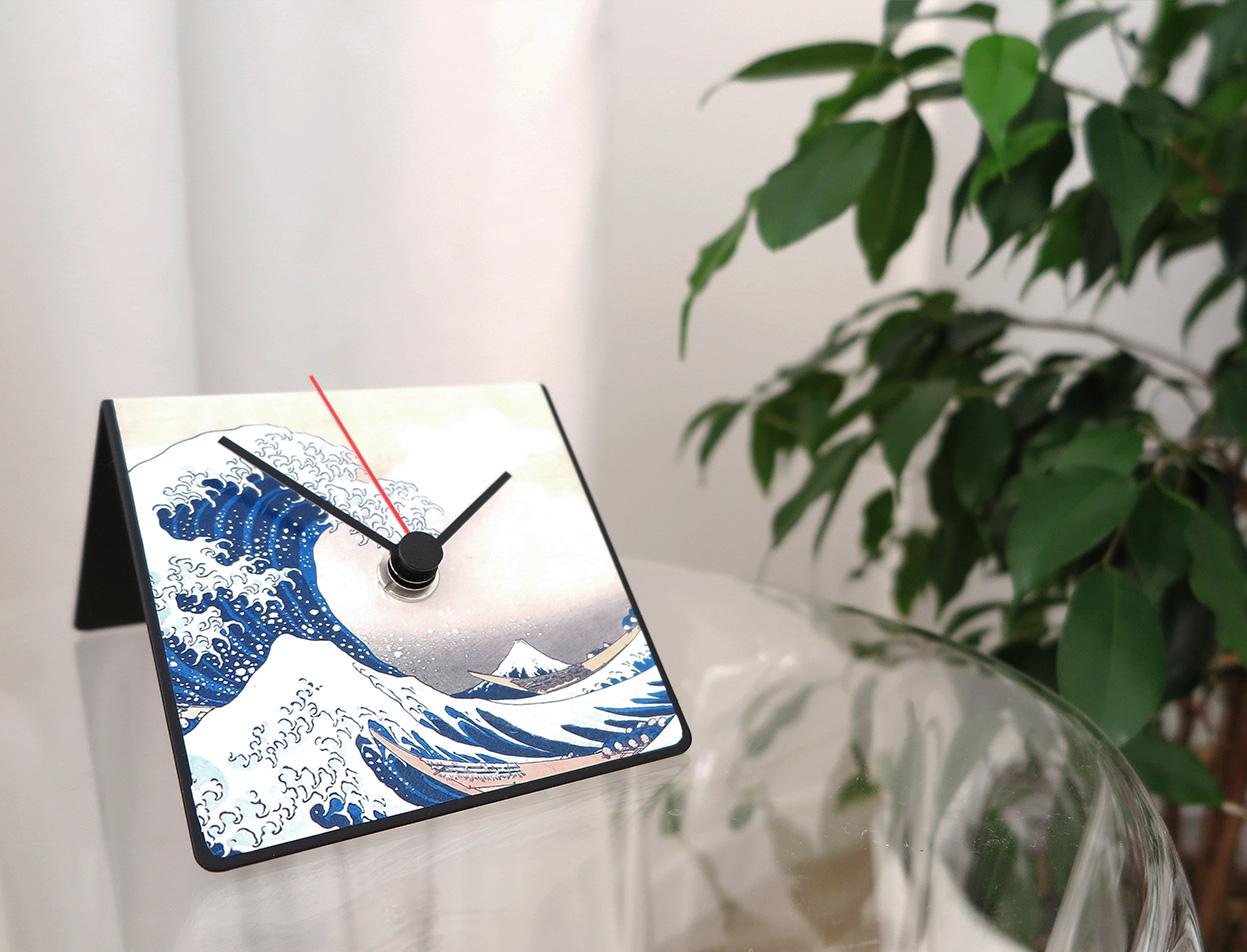 orologio calendario design da scrivania Hokusai arte