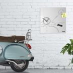 Scooter clock design vintage white