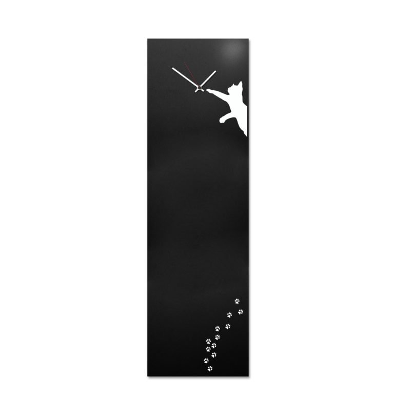 Cat: modern, big wall clock, magnetic board. Italian Design