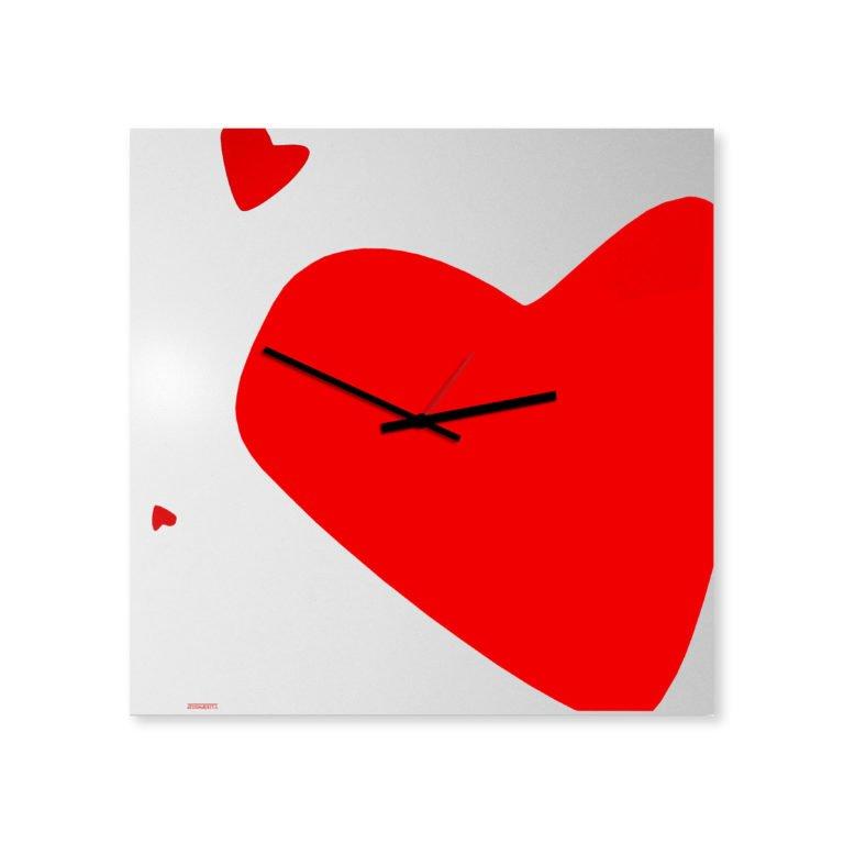 orologio da parete cuore rosso