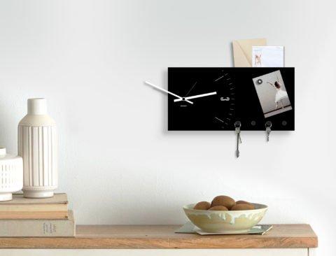 portachiavi da parete orologio design moderno lavagna magnetica tasca porta documenti design moderno in metallo nero